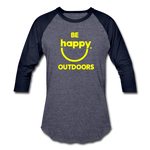 Be Happy Outdoors - Baseball T-Shirt - heather blue/navy