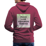 Peace Love Happiness Forever - Men's Premium Hoodie - burgundy