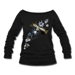 Good Vibes Winter Bloom - Women's Wideneck Sweatshirt - black