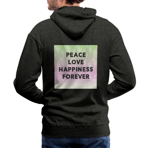 Peace Love Happiness Forever - Men's Premium Hoodie - charcoal gray