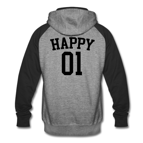 Happy One - Unisex Colorblock Hoodie - heather gray/black