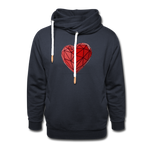 Love Life (Heart) - Unisex Shawl Collar Hoodie - navy