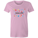 Love Life Hearts - Womens Surf T-shirt