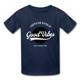 Good Vibes Giver - Youth Tagless T-Shirt - navy