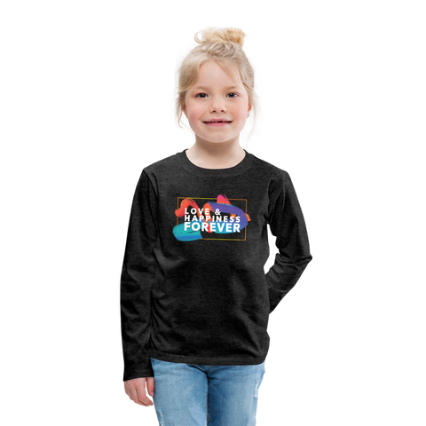 Love & Happiness Forever - Kids' Premium Long Sleeve T-Shirt - charcoal gray
