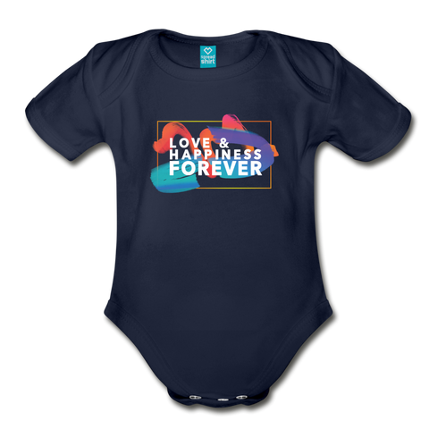 Love & Happiness Forever - Organic Short Sleeve Baby Bodysuit - dark navy