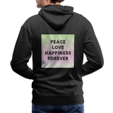 Peace Love Happiness Forever - Men's Premium Hoodie - black