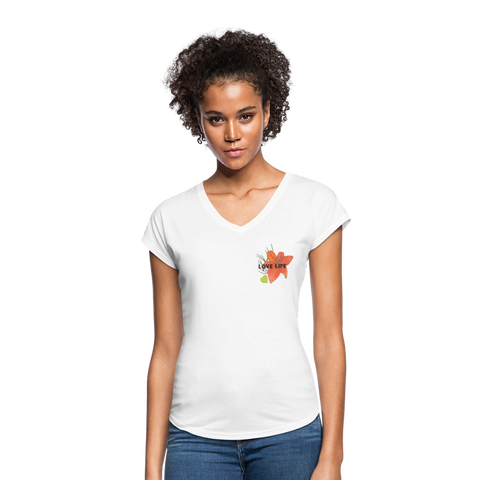 Love Life Flowers - Women's Tri-Blend V-Neck T-Shirt - white