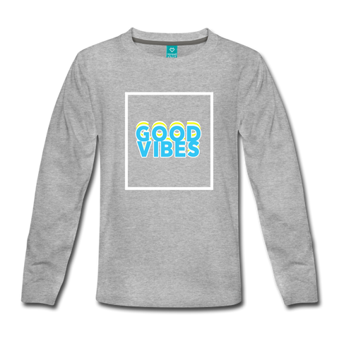 Good Vibes - Kids' Premium Long Sleeve T-Shirt - heather gray