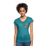 Love Life Flowers - Women's Tri-Blend V-Neck T-Shirt - heather turquoise