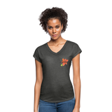 Love Life Flowers - Women's Tri-Blend V-Neck T-Shirt - deep heather