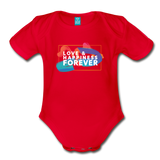 Love & Happiness Forever - Organic Short Sleeve Baby Bodysuit - red