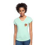 Love Life Flowers - Women's Tri-Blend V-Neck T-Shirt - mint