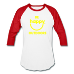 Be Happy Outdoors - Baseball T-Shirt - white/red