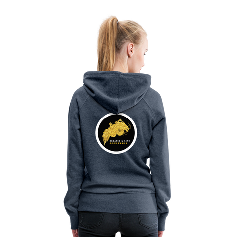 Breathe and Live Good Karma - Women's Premium Hoodie - heather denim