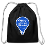 Enjoy Every Moment - Cotton Drawstring Bag - black