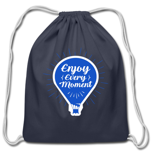 Enjoy Every Moment - Cotton Drawstring Bag - navy