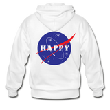Happy Snow Space - Adult Zip Hoodie - white