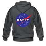 Happy Snow Space - Adult Zip Hoodie - deep heather