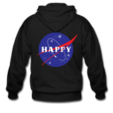 Happy Snow Space - Adult Zip Hoodie - black