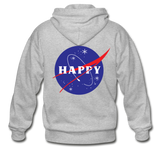 Happy Snow Space - Adult Zip Hoodie - heather gray