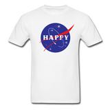 Happy Snow Space - Cotton Adult T-Shirt - white
