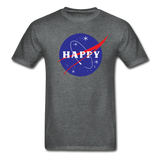 Happy Snow Space - Cotton Adult T-Shirt - deep heather