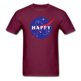 Happy Snow Space - Cotton Adult T-Shirt - burgundy