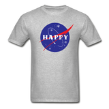Happy Snow Space - Cotton Adult T-Shirt - heather gray