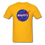 Happy Snow Space - Cotton Adult T-Shirt - gold