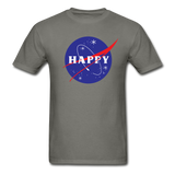 Happy Snow Space - Cotton Adult T-Shirt - charcoal
