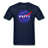 Happy Snow Space - Cotton Adult T-Shirt - navy