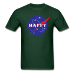 Happy Snow Space - Cotton Adult T-Shirt - forest green