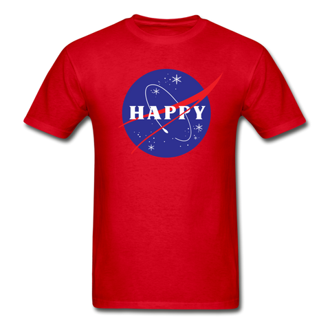 Happy Snow Space - Cotton Adult T-Shirt - red