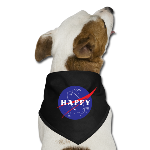Happy Snow Space - Dog Bandana - black