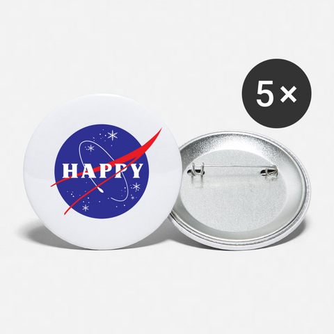 Happy Snow Space - Buttons large 2.2'' (5-pack) - white