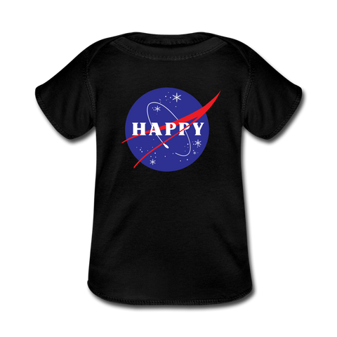 Happy Snow Space - Baby Lap Shoulder T-Shirt - black