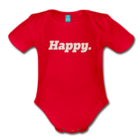 Happy. - Organic Short Sleeve Baby Bodysuit - red