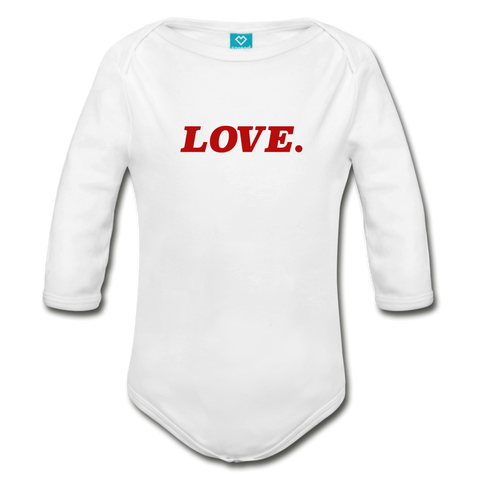Love. - Organic Long Sleeve Baby Bodysuit - white