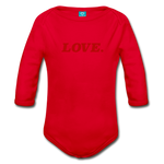 Love. - Organic Long Sleeve Baby Bodysuit - red