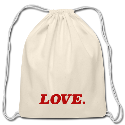 Love. - Cotton Drawstring Bag - natural