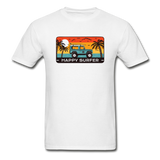 Happy Surfer -  Adult Tagless T-Shirt - white