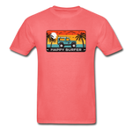 Happy Surfer -  Adult Tagless T-Shirt - coral
