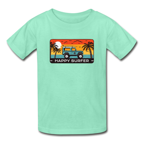 Happy Surfer - Youth Tagless T-Shirt - deep mint