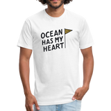 Ocean Has My Heart -  Fitted Cotton/Poly T-Shirt - white