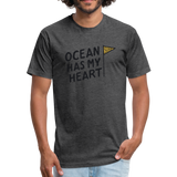 Ocean Has My Heart -  Fitted Cotton/Poly T-Shirt - heather black