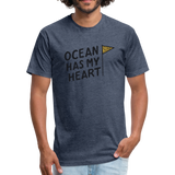 Ocean Has My Heart -  Fitted Cotton/Poly T-Shirt - heather navy