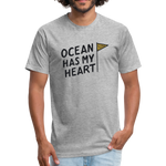Ocean Has My Heart -  Fitted Cotton/Poly T-Shirt - heather gray