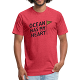 Ocean Has My Heart -  Fitted Cotton/Poly T-Shirt - heather red