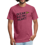 Ocean Has My Heart -  Fitted Cotton/Poly T-Shirt - heather burgundy